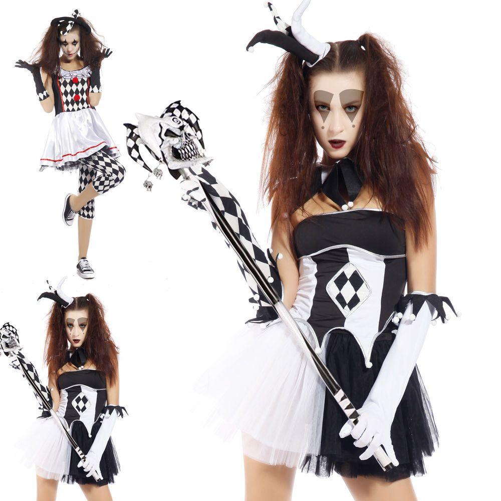 Womens Tricksterina Harlequin Clown Jester Cosplay Fancy