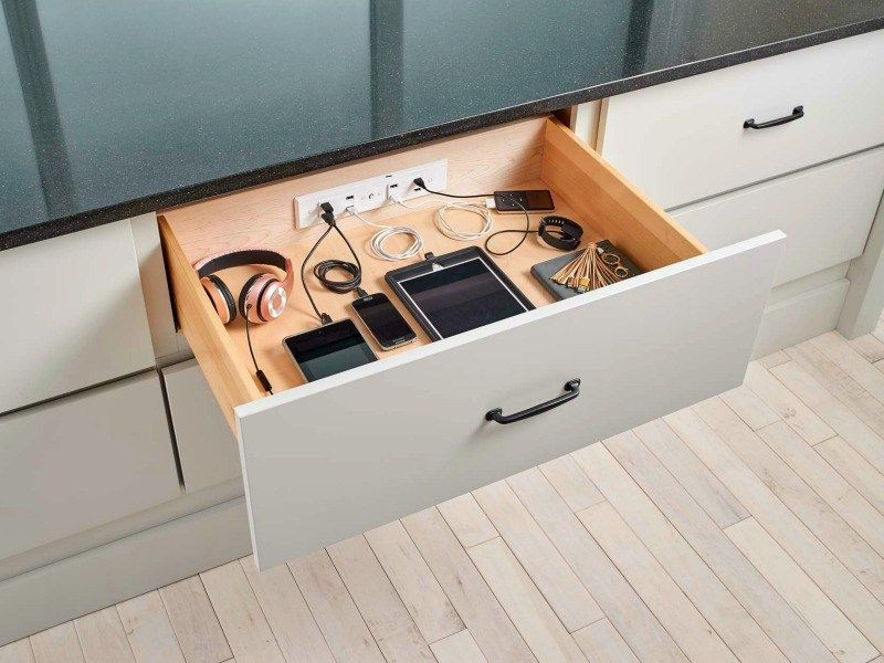 Docking Drawer Hides Your Charging Cables Clutter Getdatgadget Cabinet Drawers Cabinet Outlet