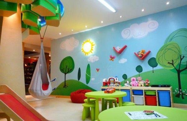 Wandgestaltung Kinderzimmer Sommer Wald