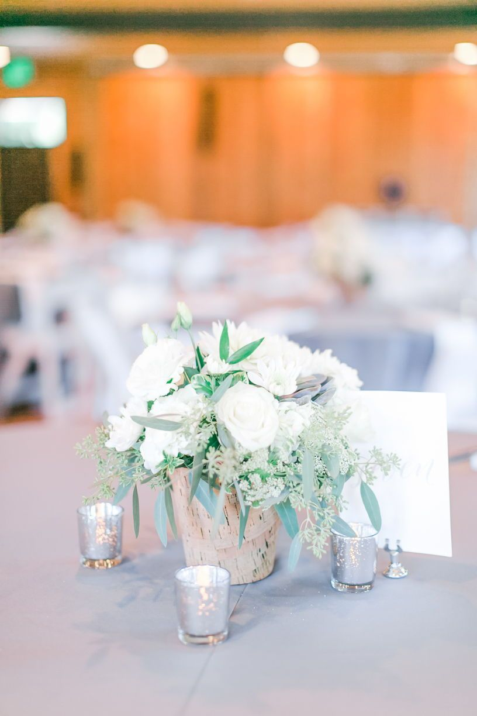 Grey & White Wedding Decor. Simple Wedding Centerpieces. Classic ...