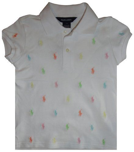 5f972ca0 Ralph Lauren Toddler Girls Polo Shirt White Multi Colored Pony Size 2T ,  http:/