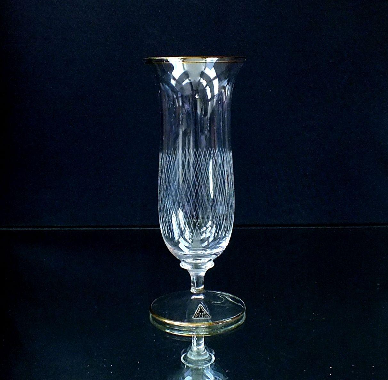 7+1 Art Deco Kristall Sektgläser Oertel Haida Kunstglas geschliffen mit Goldrand | eBay