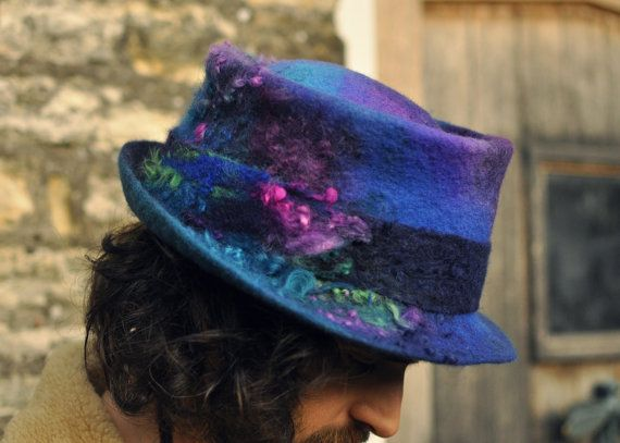 Handmade felt trilby magic hat 'Serendipity' - Hand dyed & felted wool - blue purple pink green - Custom Made to Measure ARtWeAR - fiber art by Innerspiral
