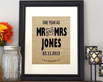 Articles similaires à Cadeau d'anniversaire de mariage de toile de jute personnalisé pour cadre photo sur Etsy