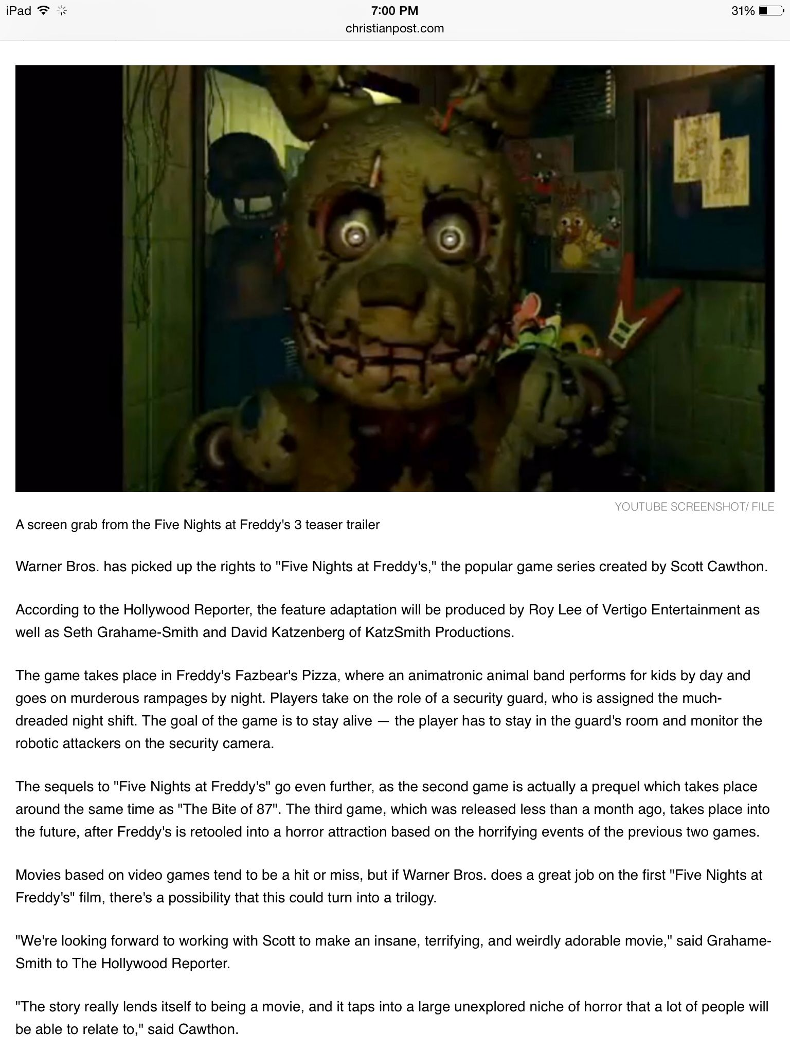 Five Nights At Freddy's Movie Pictures
