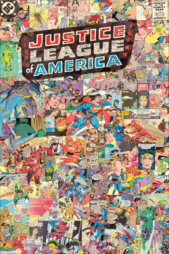Comic Book, Comic Book- JLA  Giclee print of my 24x36 comic collage made to look like a Justice League comic cover. Everything you see(in