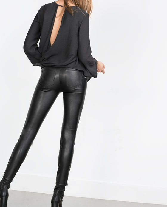 Image 3 of FAUX LEATHER BIKER TROUSERS from Zara