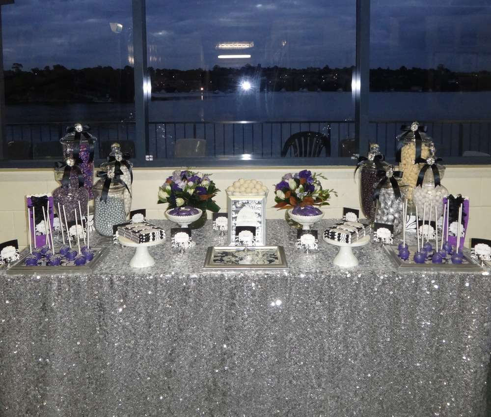 Purple, Black, White and Silver Birthday Party Ideas in
