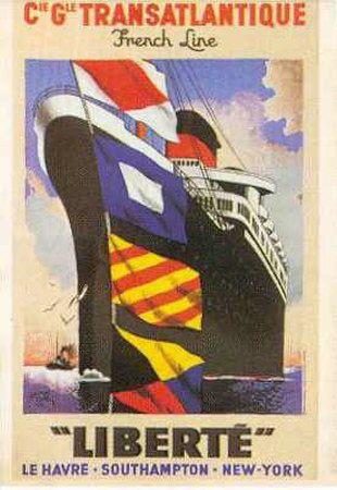 "Vintage Travel Art 24/"" x36/"" Art on Canvas Transatlantique French Line"