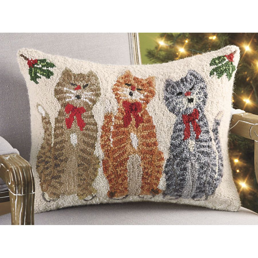 Caroling cats hand hooked wool pillow stylish home accents and