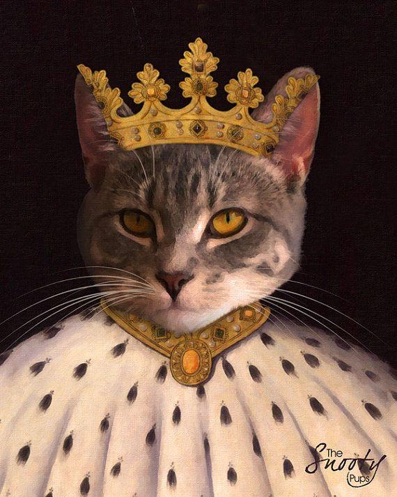 CAT PORTRAIT, Custom Cat Portrait, King Cat Portrait, Pet