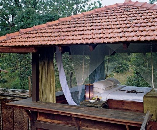 simple tiled roof, open walls, awning