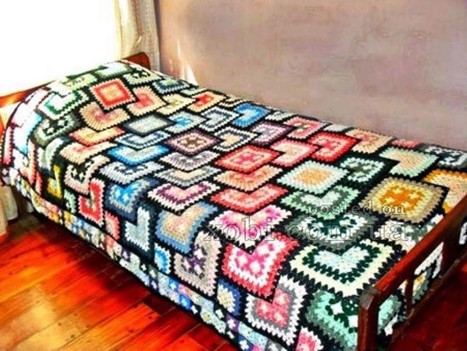 Crocheted Bedspread - Free Crochet Diagram - (xobi) | Crochet It ...