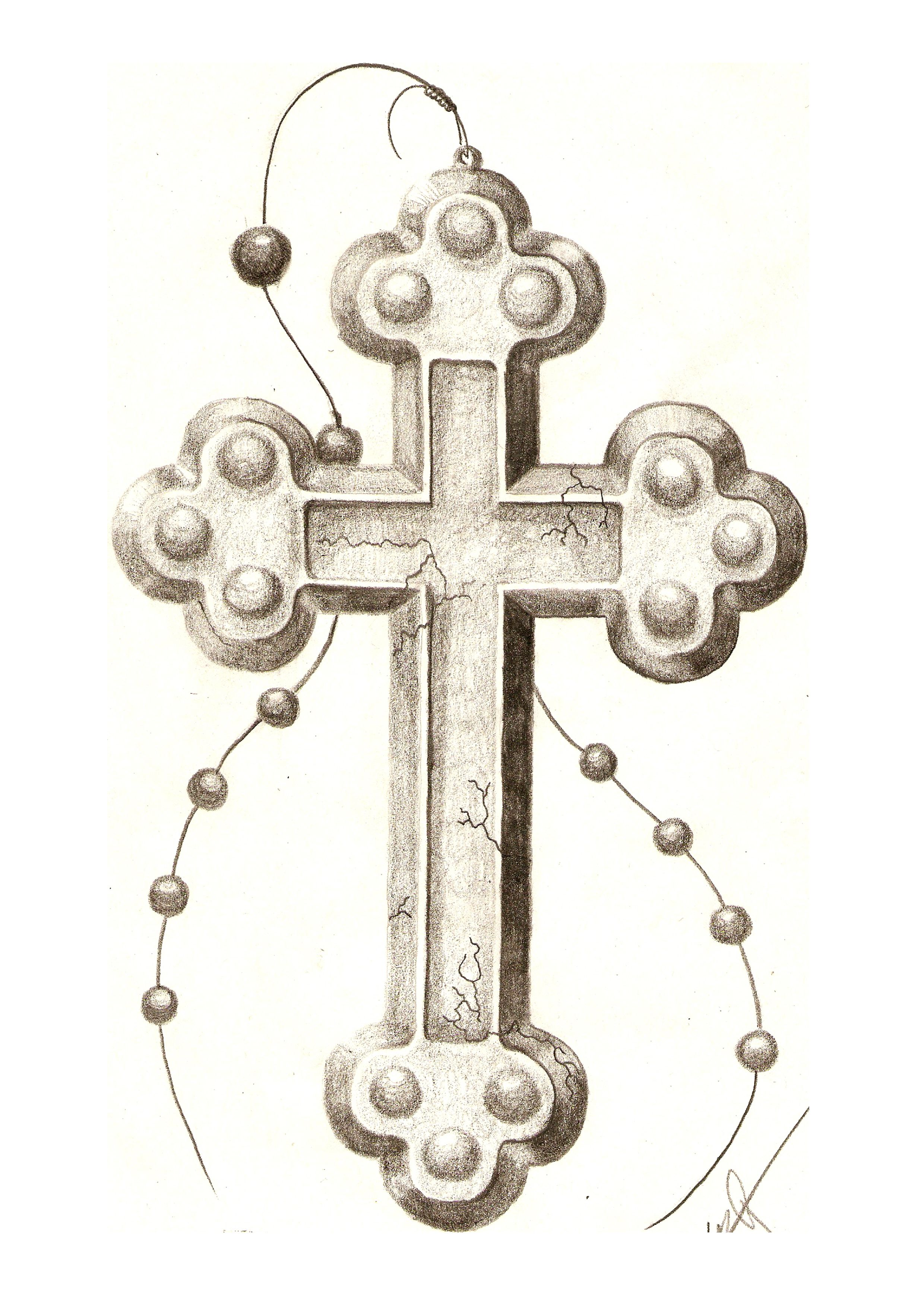Crosses of drawings with rosary