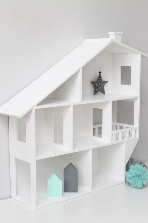 Drewniana Półka Regał Domek Styl Skandynawski Dodatki Dziewczynka