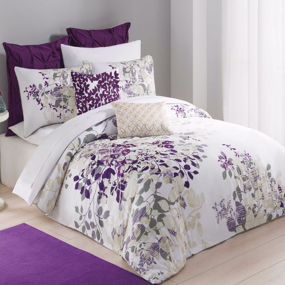 Kas australia winchester twin duvet cover white purple nature embroidered kas