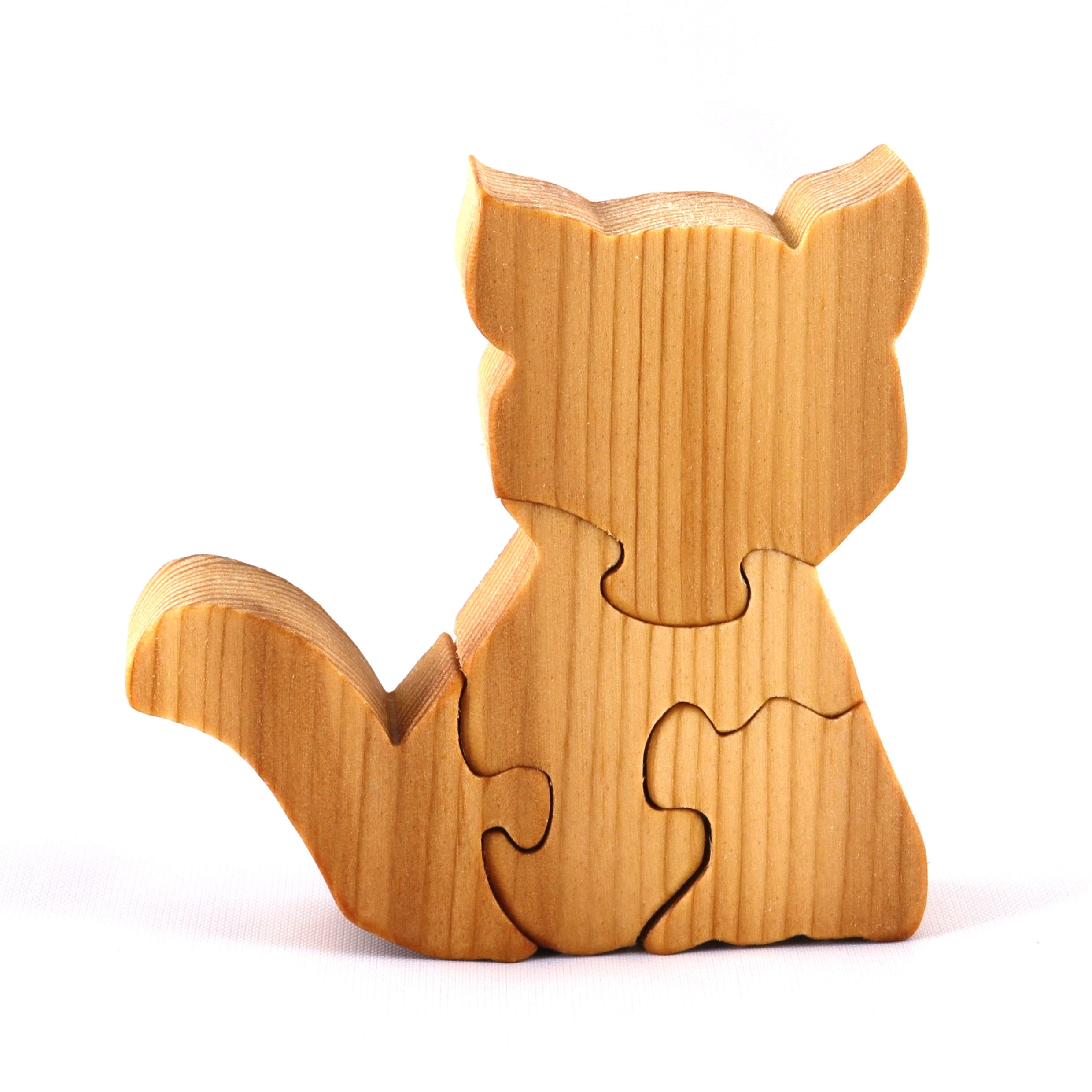 Handmade Wooden Kitten Puzzle Toy, A Cute Simple Four Part ...