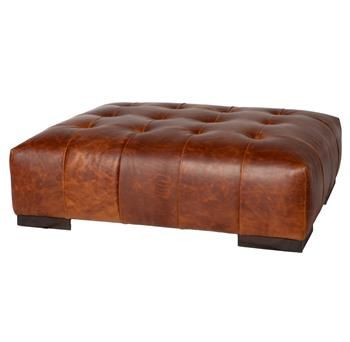 Arden Modern Classic Tufted Terracotta Leather Rectangle Coffee Table Ottoman