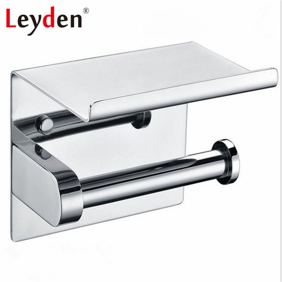 Leyden Stainless Steel Polished Chrome Wall Mounted Toilet Paper Holder With Mobile Phone Storage Shelf Toilet Paper Holder Chrome Bathroom Wall Mounted Toilet