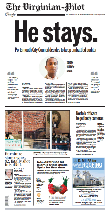 The Virginian-Pilot's front page for Tuesday, Sept. 23, 2014.