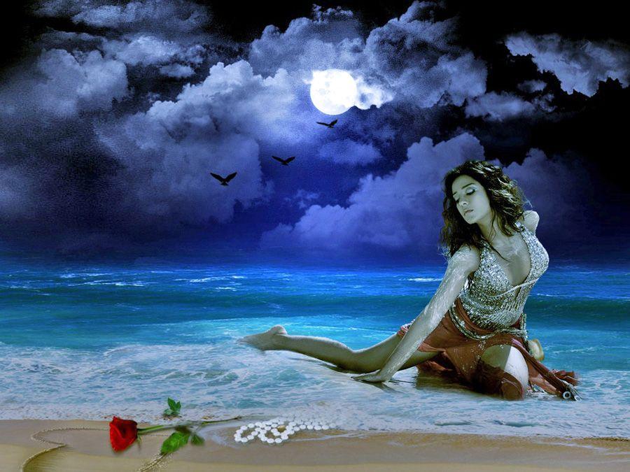 Ночи пожелать, красивые анимации картинки девушек на море