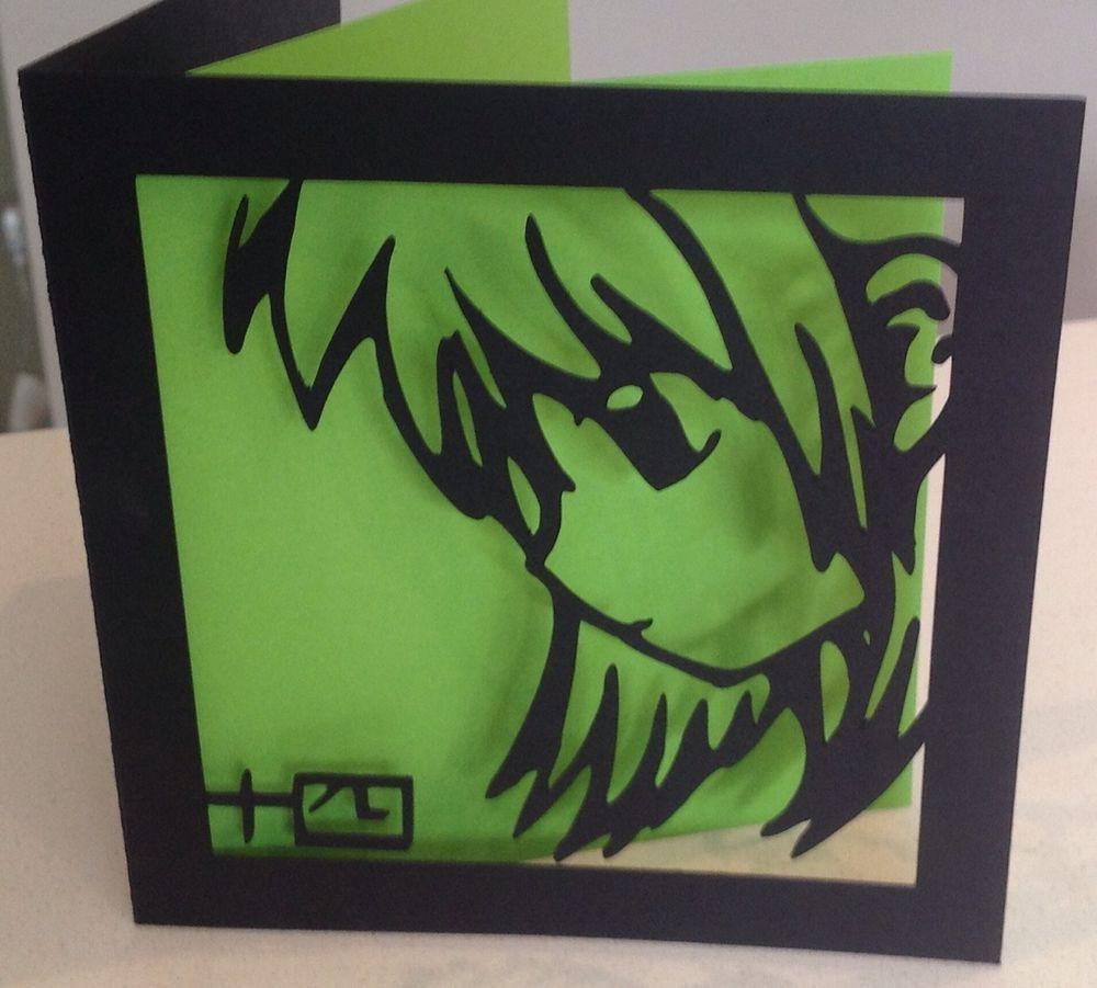 Customised Papercut Manga Style Anime Birthday Card Choose Colour
