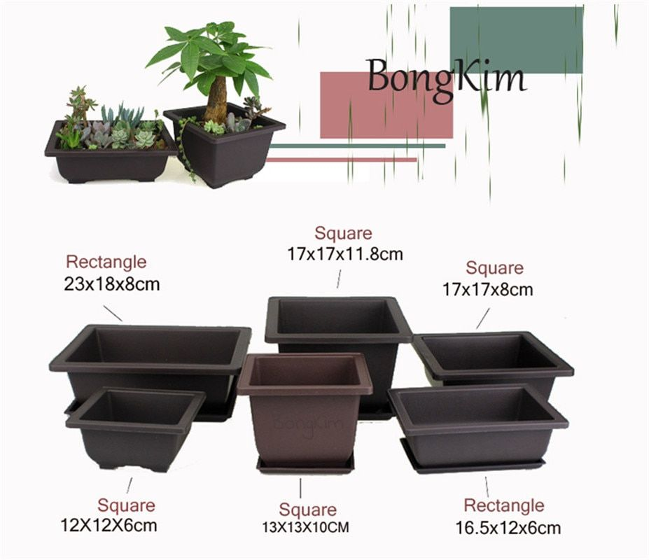 Flower Pot Plastic Succulents Balcony Rectangle Bonsai Nursery Planter