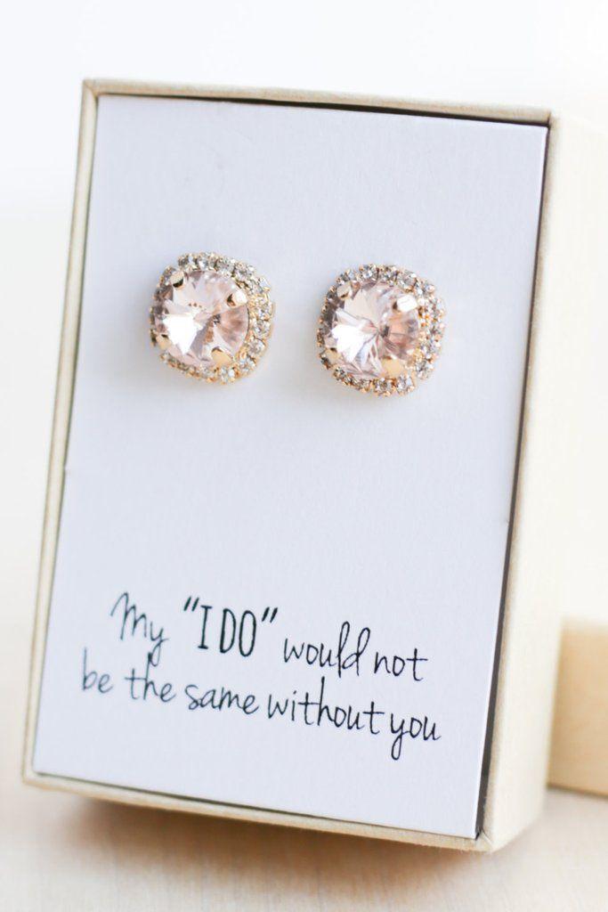 Swarovski Halo Post Earrings Bridesmaid Gifts Bridesmaid jewelry