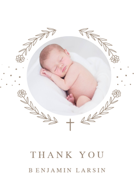 Ribbon Cameo Baptism Thank You Card Free Greetings Island Christening Thank You Cards Baptism Thank You Cards Thank You Card Wording
