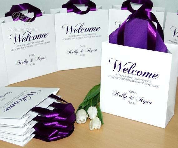 30 Wedding Favor Gift Bags For Hotel Guests Elegant Purple