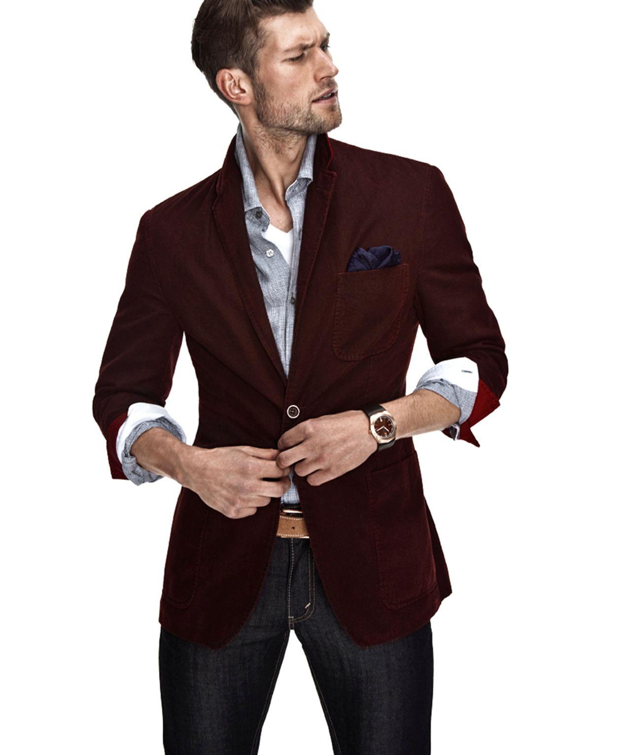 Maroon blazer with pocket square   Mens burgundy blazer ...
