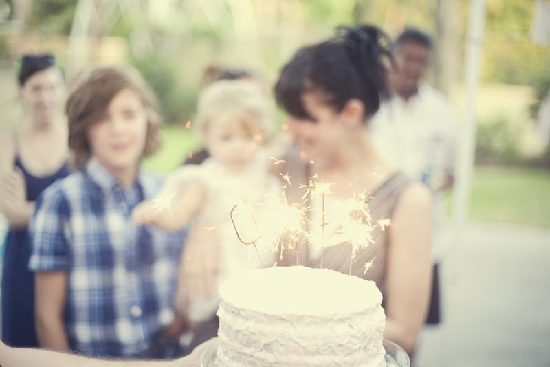 A birthday party sparkler candles fiesta party cake