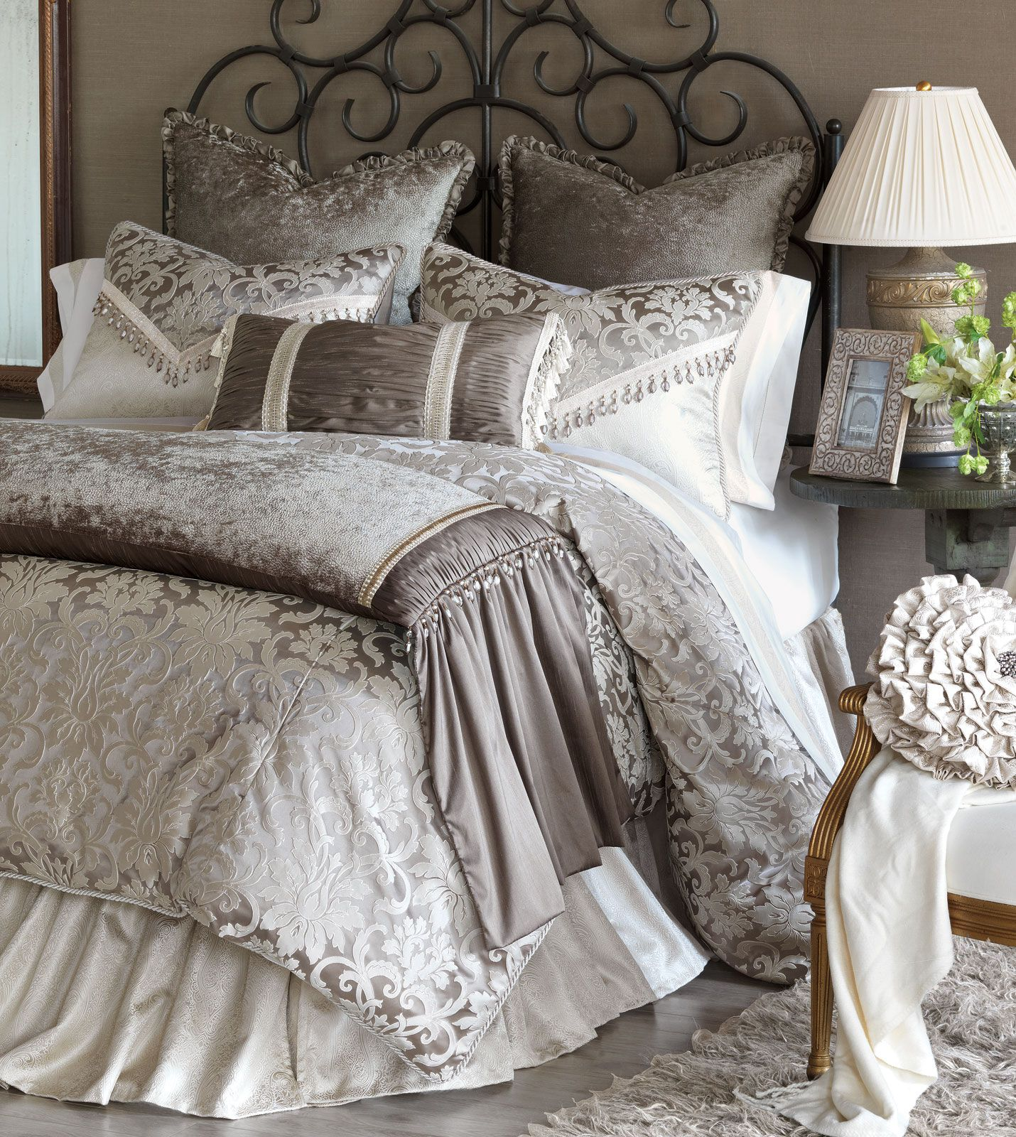 leblanc bed set brings grandeur to its light neutral tones its elegant floral damask