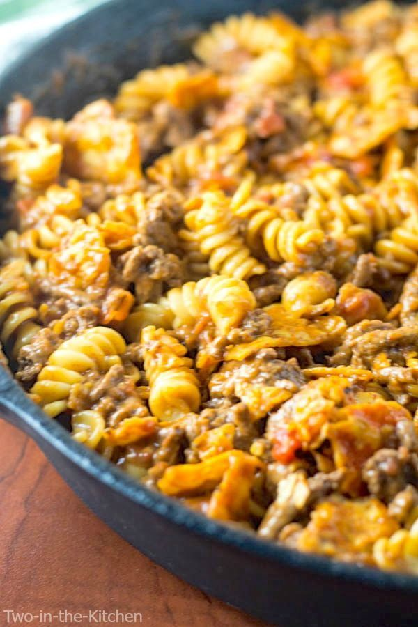 Cheesy Taco Pasta Skillet Two In The Kitchen Recipe Taco Pasta Skillet Pasta Nachos Cheese Recipe