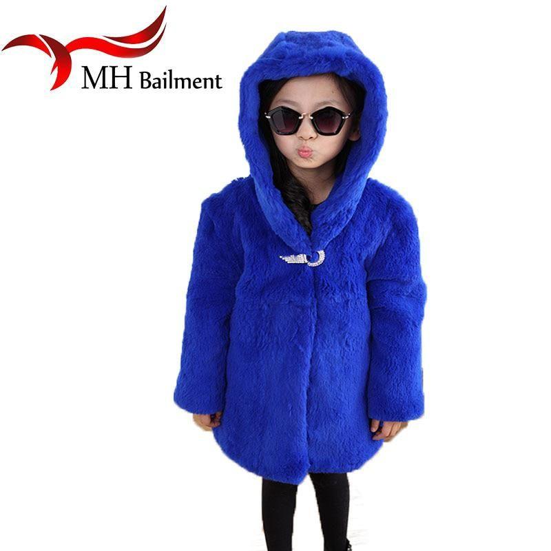 efcaf836d Children Whole Natural Rex Rabbit Fur Coat Winter Warm Baby Kids ...