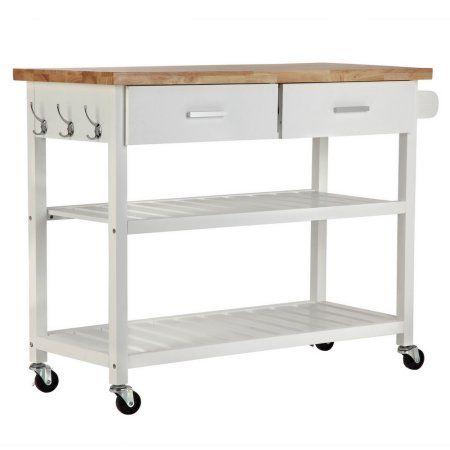 Homegear Open Storage Kitchen Storage Cart Island with ...