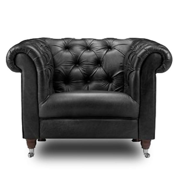 Traditional Chesterfield Leather Armchair | Black leather ...