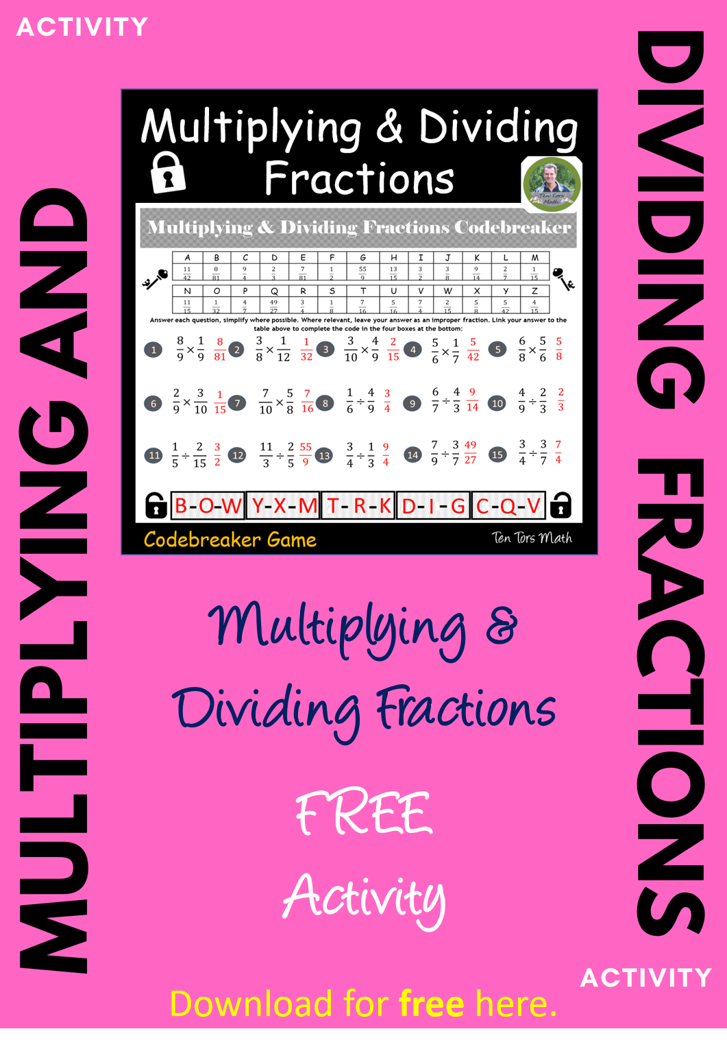 Multiplying And Dividing Fractions Free Activity