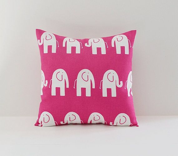 Elephant Pillow Cover Decorative Pillows Pink by BlossomPillowCo, $17.00