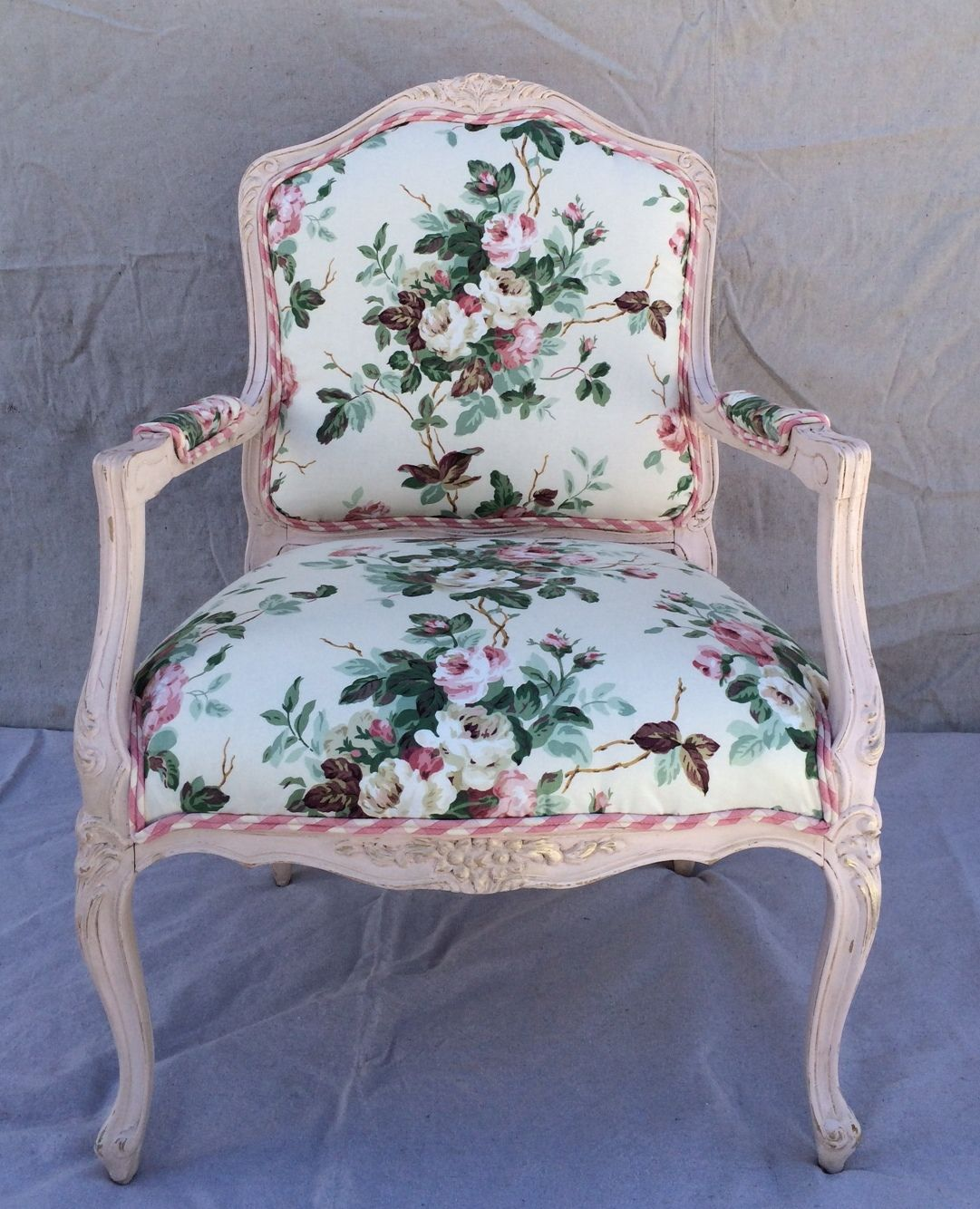 Rose Chintz Vintage Shabby Chic Chair Upholstered