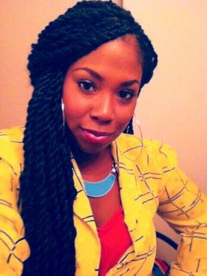 jumbo Senegalese twist...pretty big, but i like these. i like the jet black of it too;   against her skin tone