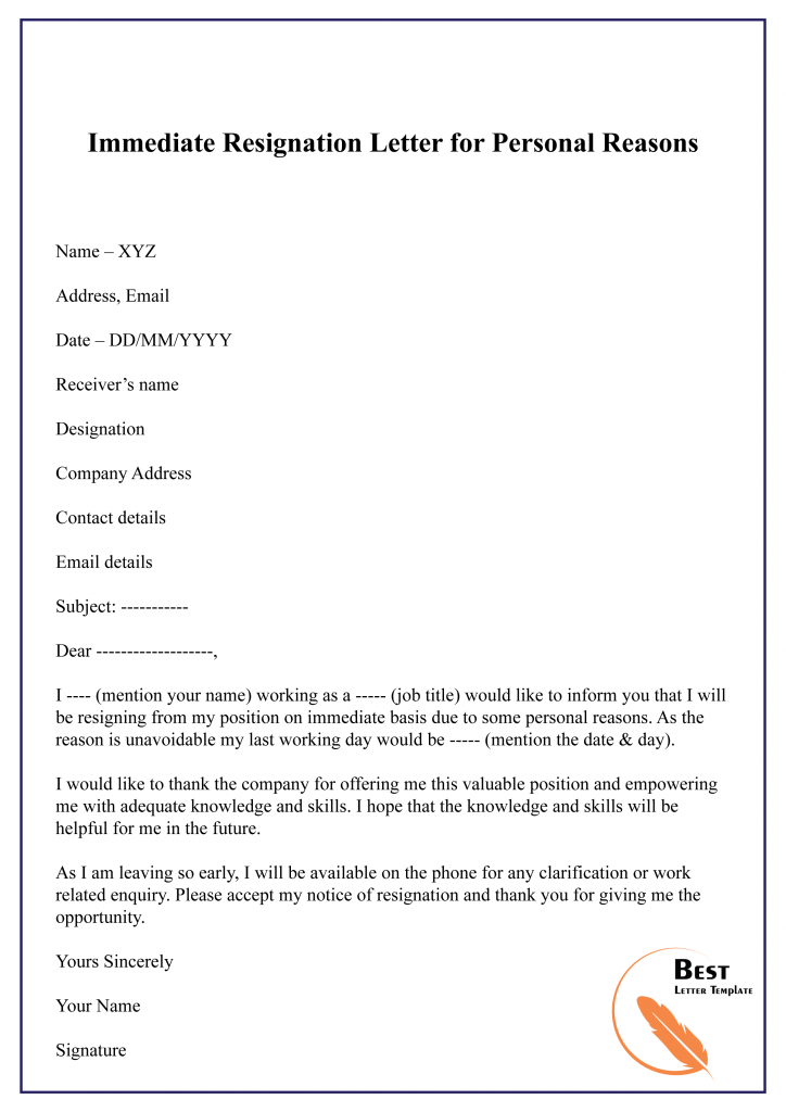 Resignation Letter for Personal Reason Format Sample