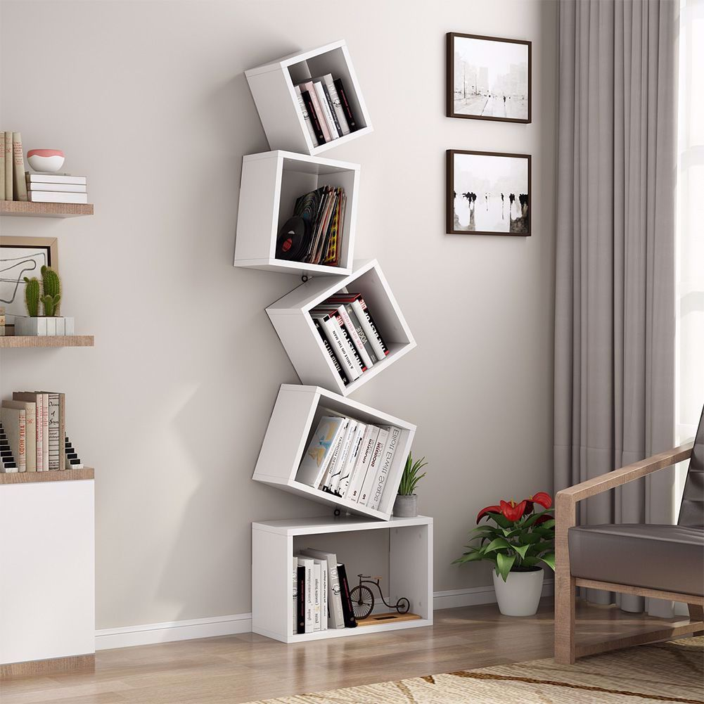 5 Shelf Bookshelf Modern Bookcase Wall Mount Floating Shelf