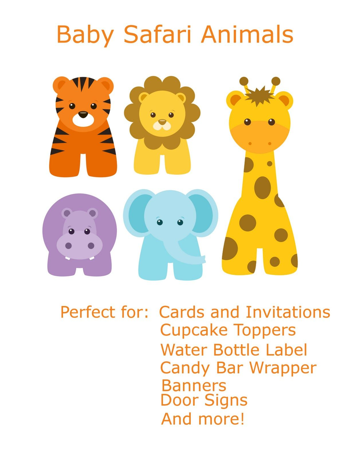 Free Baby Animal Clip Art  Paper Parties Baby Safari Clip Art  crafts  Free baby stuff