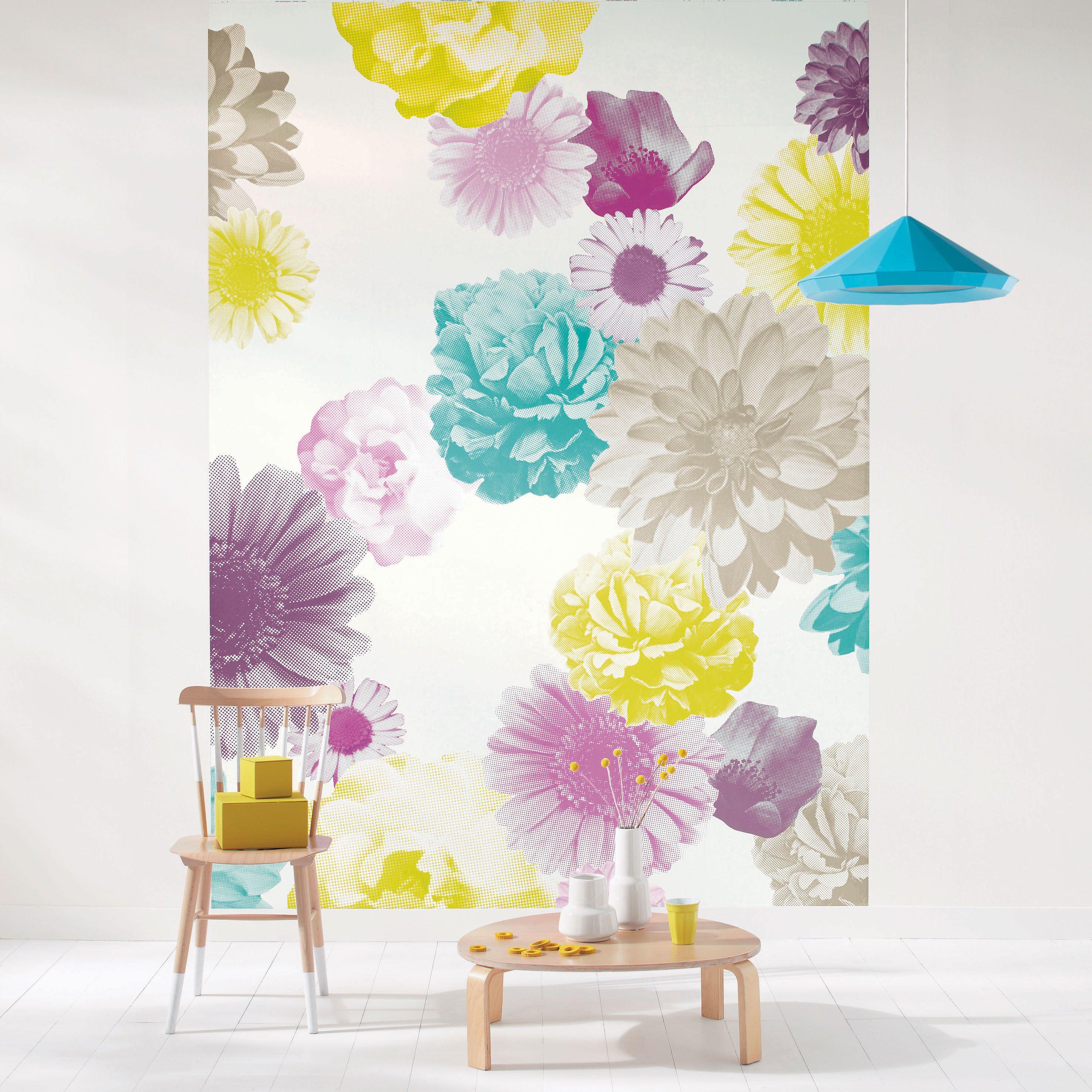 Peinture Sur Papier Peint Existant collection : vitamine / fleurs, panoramique #papierpeint