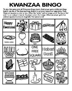 Kwanzaa Bingo Board No 3 Coloring Page Bingo Board