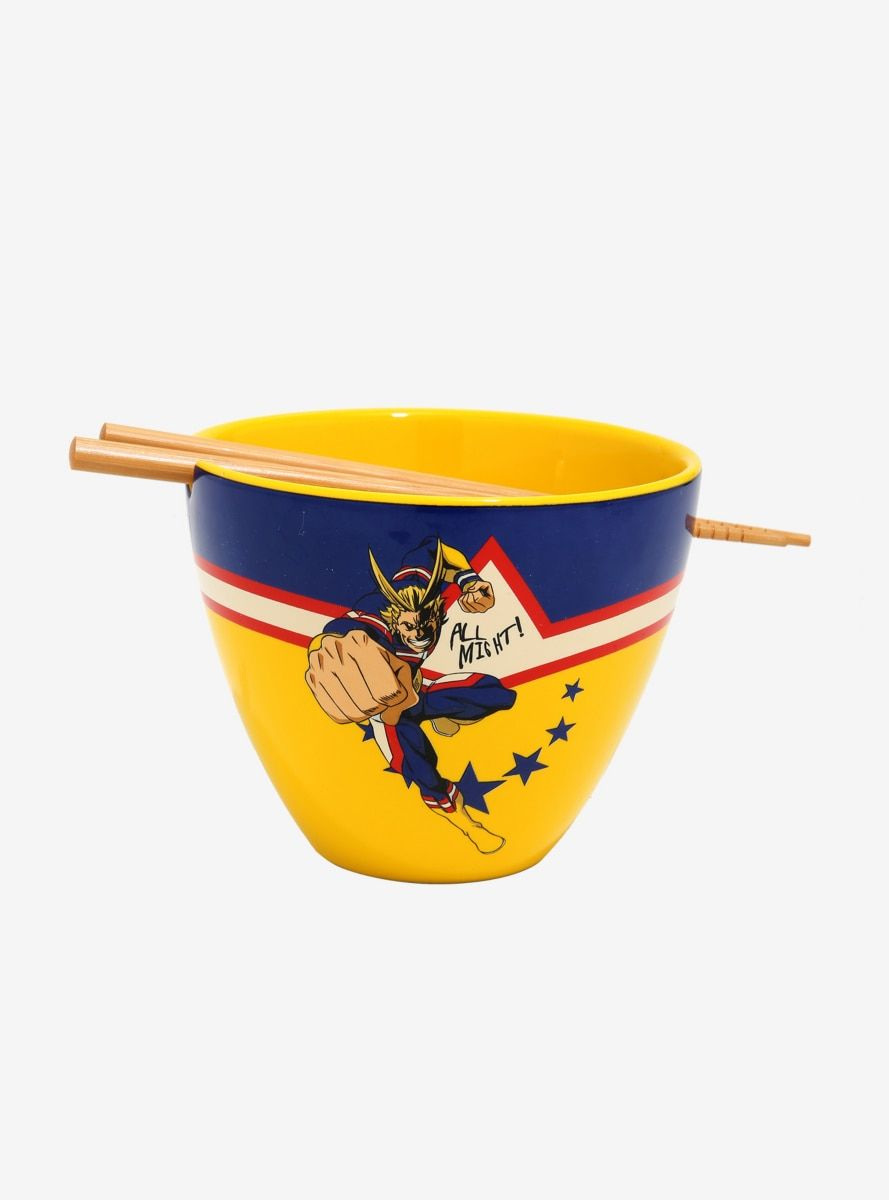 My hero academia all might ramen bowl with chopsticks in