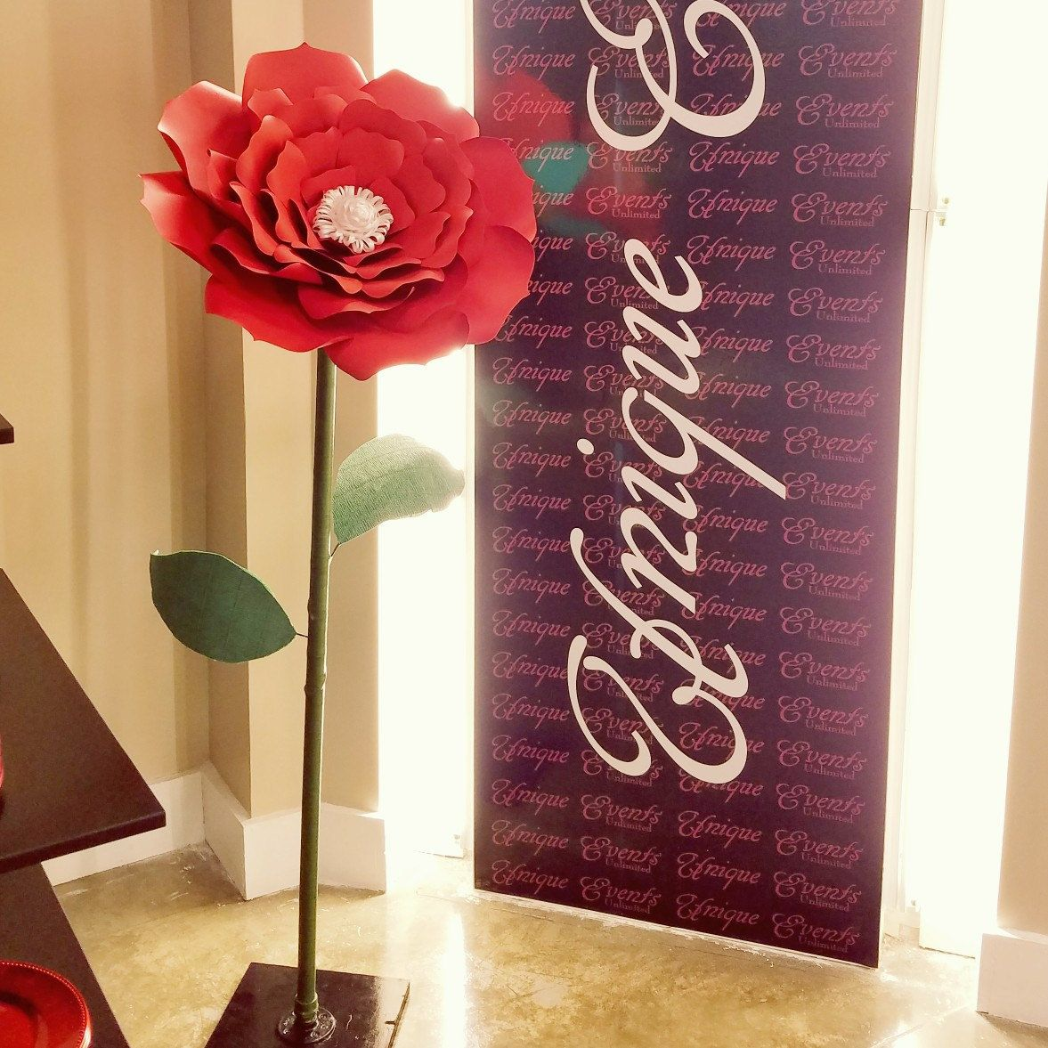 Standing Large Red Flower Giant Paper Flower Stand Alone Giant