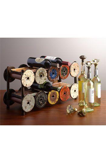 wine rack from vintage spools and Vintage Glass Door Knob Wine