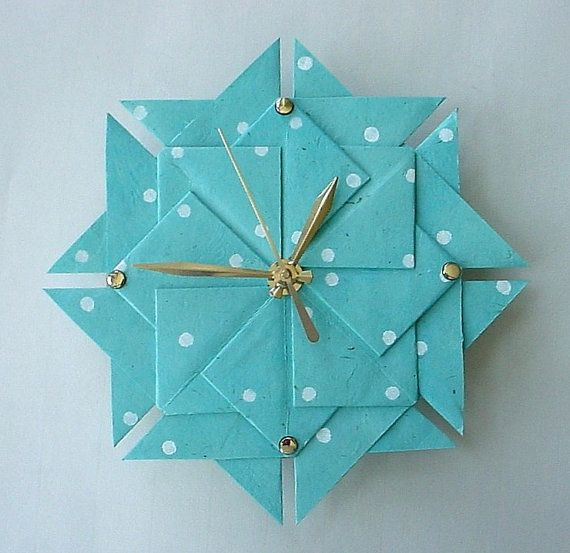 Aqua Polka Dot Origami ClockLarge by Giftedpapers on Etsy, $40.00